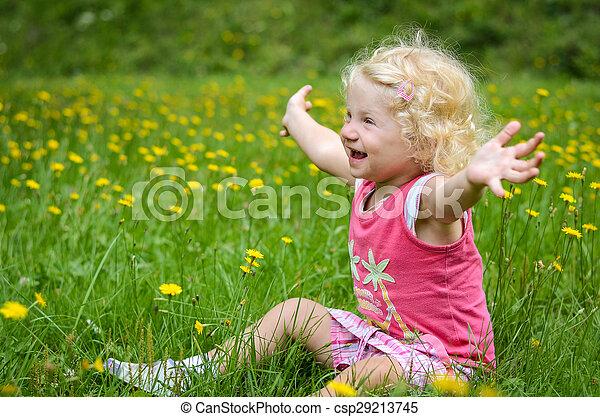 blond child in a grass - csp29213745
