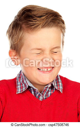 Blond child with a funny expression closing his eyes - csp47508746
