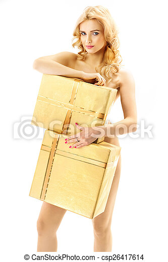 Blond curly-haired woman holding huge gifts - csp26417614