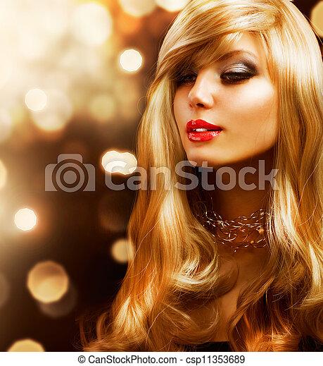 Blond Fashion Girl. Blonde Hair. Golden background - csp11353689