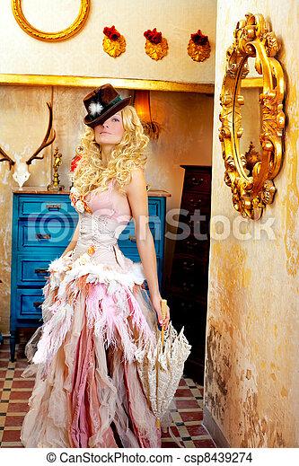 blond fashion woman in vintage baroque with umbrella - csp8439274