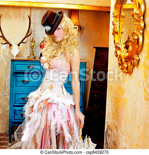 blond fashion woman in vintage baroque with umbrella - csp8439270