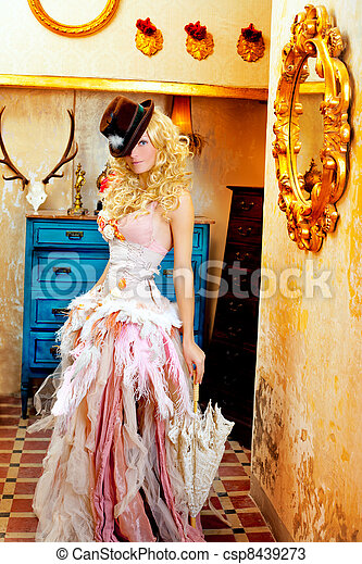 blond fashion woman in vintage baroque with umbrella - csp8439273
