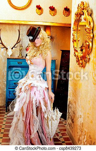 blond fashion woman in vintage baroque with umbrella - csp8439273