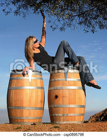 Blond girl in a wine country - csp0895798