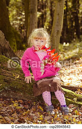 blond girl in forrest - csp28945643