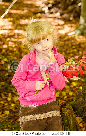 blond girl in forrest - csp28945644