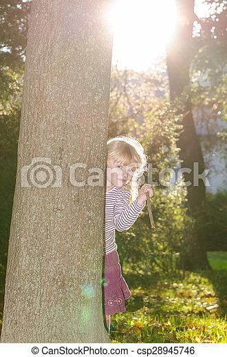 blond girl in forrest - csp28945746