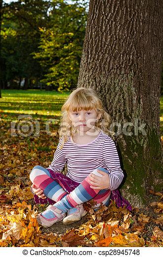 blond girl in forrest - csp28945748