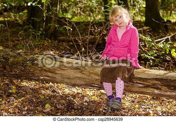 blond girl in forrest - csp28945639