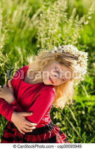 blond girl in grass - csp30093949