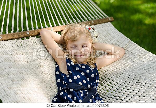 blond girl in hammock - csp29078806