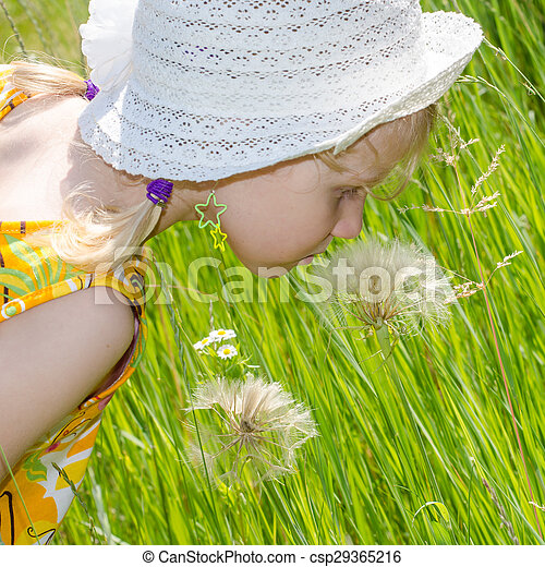 blond girl in hat and flower - csp29365216