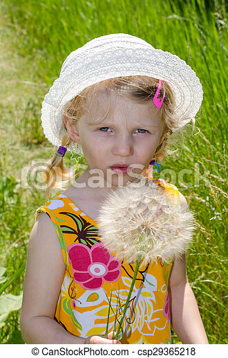 blond girl in hat and flower - csp29365218