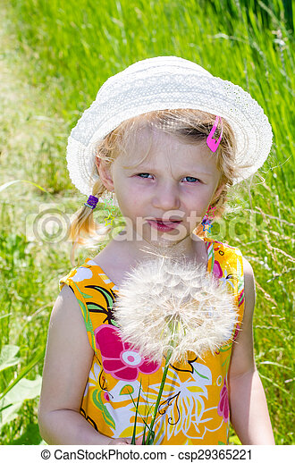 blond girl in hat and flower - csp29365221