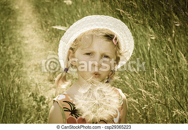 blond girl in hat and flower - csp29365223