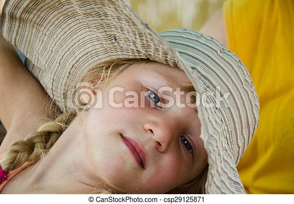 blond girl in hat - csp29125871