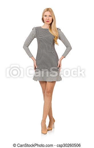 Blond girl in polka dot dress isolated on white - csp30260506
