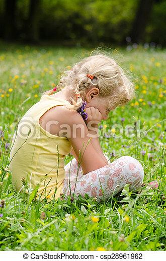 blond girl on grass - csp28961962