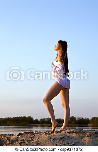 blond girl on the beach - csp9371872
