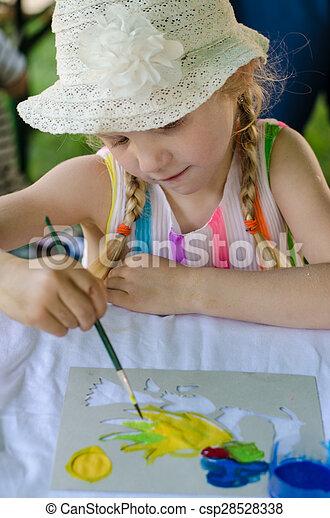 blond girl painting - csp28528338