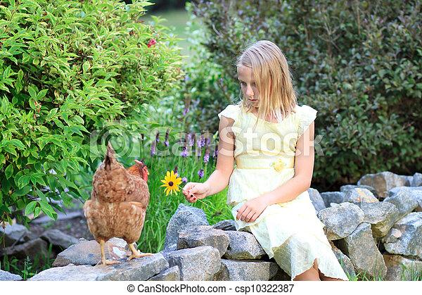 blond, girl, poulets, jardin - csp10322387
