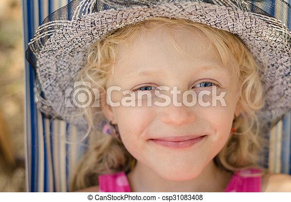 blond girl with hat portrait - csp31083408