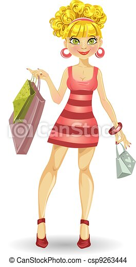 blond girl with shopping bags - csp9263444