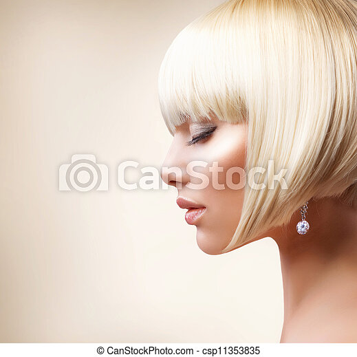 Blond Hair. Beautiful Girl with Healthy Short Hair  - csp11353835
