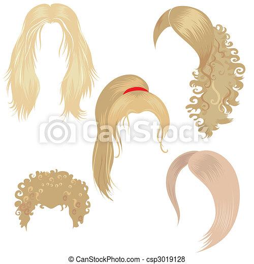 blond hair styling - csp3019128