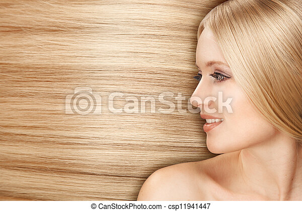 Blond Hair.Beautiful Woman with Straight Long Hair - csp11941447