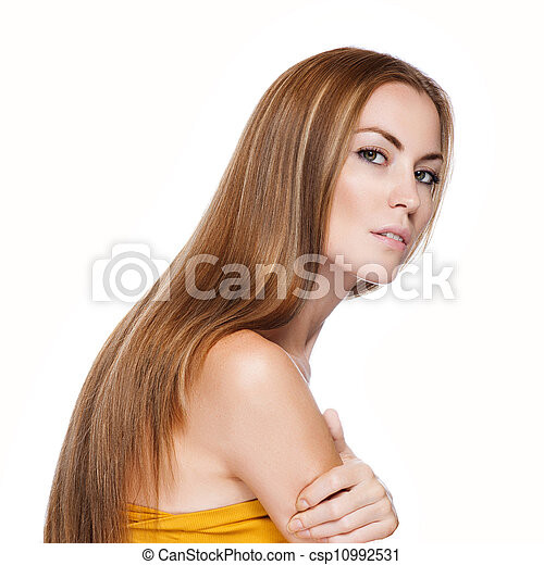 Blond Hair.Beautiful Woman with Straight Long Hair  - csp10992531