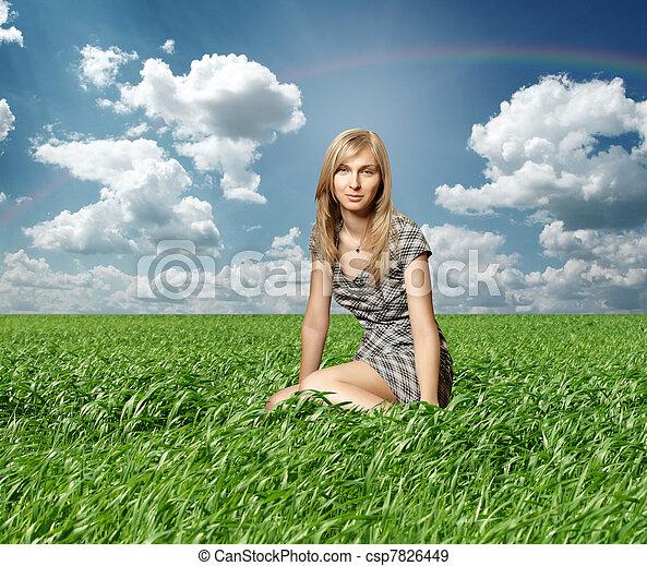 Blond in green grass - csp7826449