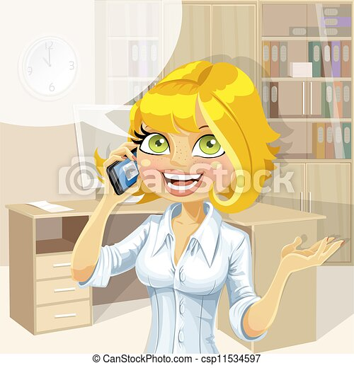 Blond in office talking on phone 1 - csp11534597