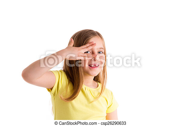 Blond indented kid girl hiding eyes with fingers - csp26290633