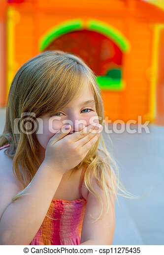 Blond kid girl funny gesture hand in mouth - csp11275435