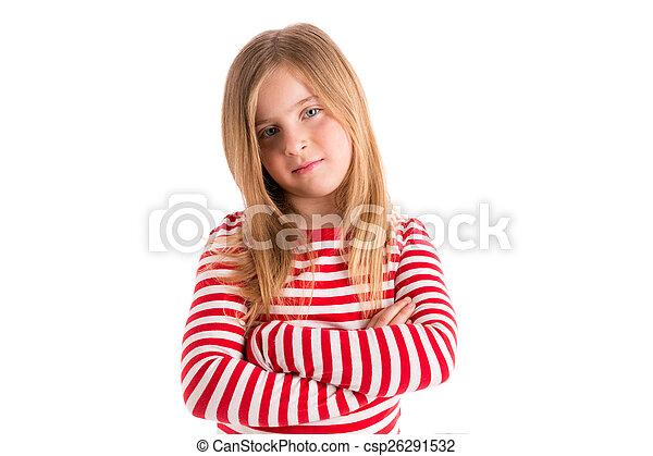 Blond kid girl sad serious gesture expression - csp26291532