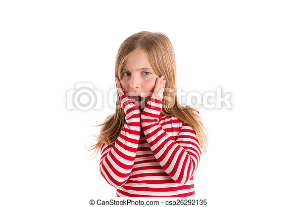 Blond kid girl sad surprised gesture expression - csp26292135
