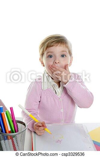 Blond little surprised gesture student girl - csp3329536