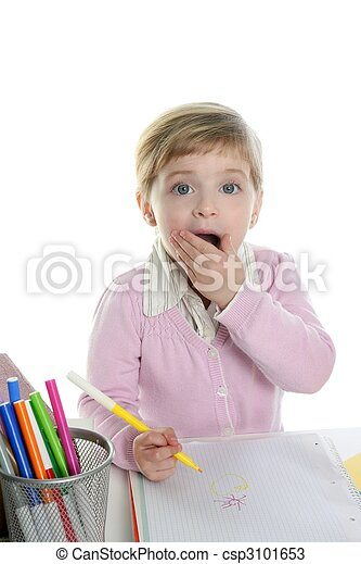 Blond little surprised gesture student girl - csp3101653
