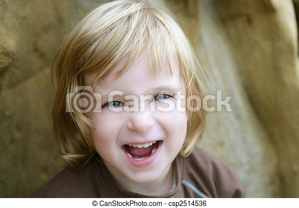 Blond little toddler girl with funny gesture - csp2514536