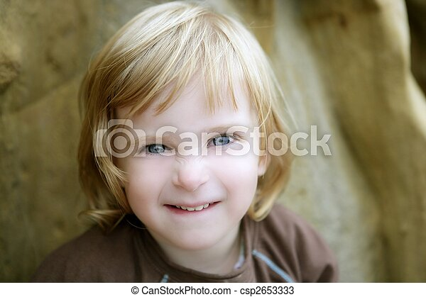 Blond little toddler girl with funny gesture - csp2653333