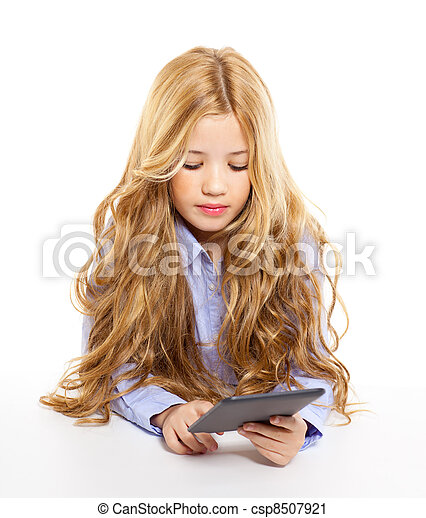 blond student kid with ebook tablet pc portrait in desk - csp8507921
