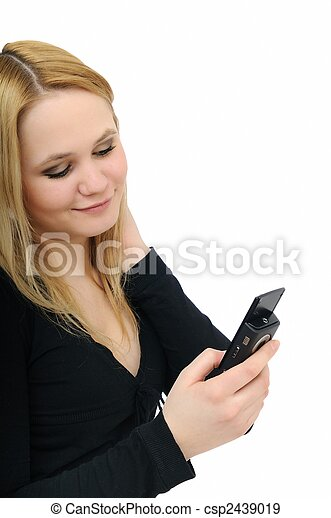 Blond teenager with mobile phone - csp2439019