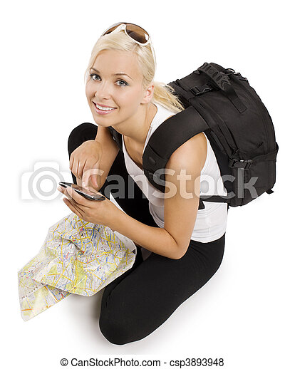 blond tourist with gps - csp3893948