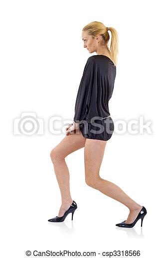 blond woman in black dress - csp3318566