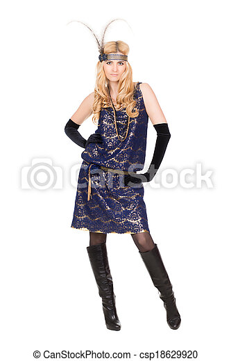Blond woman posing in dress - csp18629920