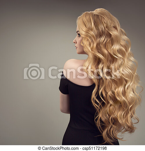 Blond Woman With Long Curly Beautiful Hair Back View