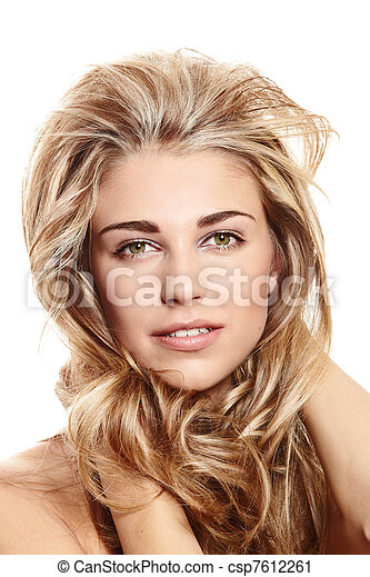 blond woman with long hair - csp7612261