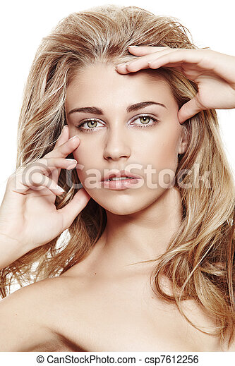 blond woman with long hair - csp7612256